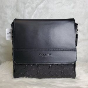 COACH BLACK HOUSTON MAP BAG IN SIGNATURE LEATHER